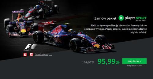 Oglądaj cały sezon F1 na żywo taniej w Player.pl