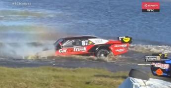 Wideo: Wypadek w wyścigu samochodowym zakończony wizytą w jeziorze